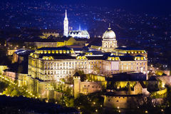 Night View Buda Castle Or Royal Palace In Budapest Stock Image