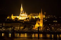 Night view of Buda part, Budapest Royalty Free Stock Photos