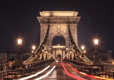 Night view of Budapest Chain bridge Royalty Free Stock Image