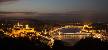 Night view of Budapest from the Citadel. Summer 2017 Stock Photo