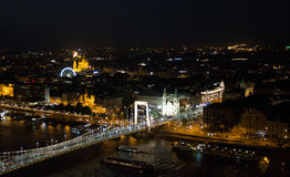 Night view of Budapest from the Citadel. Summer 2017 Stock Image
