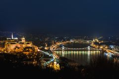 Night view of Budapest. Cityscape of famous tourist destination with Danube and bridges. Travel illuminated landscape in Hungary,. Europe royalty free stock photography