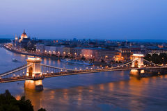 Night view of Budapest Fair Center. royalty free stock photo