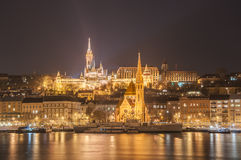 Night view of the Budapest, Hungary. Night view of the Budapest on the Danube river, Hungary Royalty Free Stock Image
