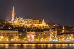 Night view of the Budapest, Hungary. Night view of the Budapest on the Danube river, Hungary Stock Photos
