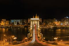 Night View of Budapest Lánchíd royalty free stock photography
