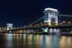 Night view of Budapest. Panorama cityscape of famous tourist destination with Danube and bridges. Travel illuminated landscape in. Hungary, Europe royalty free stock image