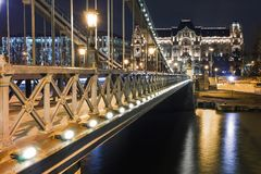 Night view of Budapest. Panorama cityscape of famous tourist destination with Danube and bridges. Travel illuminated landscape in. Hungary, Europe royalty free stock photos