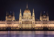 Night view of Budapest parlament Royalty Free Stock Images
