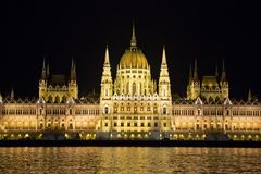 Parliament Building at Night, Budapest Royalty Free Stock Photos