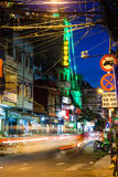 Night view of the Bui Vien street, Ho Chi Minh City, Vietnam. Ho Chi Minh City, Vietnam - November 20, 2015: Night view of the Bui Vien street famous backpackers Stock Photo