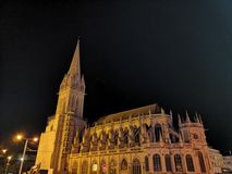 Night view of building in the city of Caen, France. Cityview and night scenes stock photos