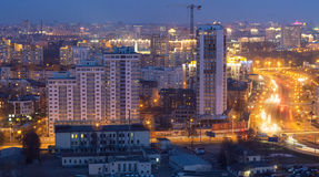 Night view of the building in Minsk. Residential Complex Tchaikovsky PR-t Masherova - Timiryazev str. Minsk Stock Image