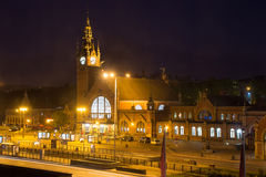 Night view of the building's main train station in Gdansk. Stock Photography