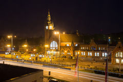 Night view of the building's main train station in Gdansk. Poland. Royalty Free Stock Photos
