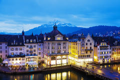 Night view of buildings along the river Reuss Royalty Free Stock Photo