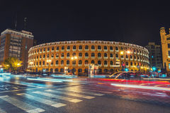 Night view of a Bullring Arena in Valencia Stock Photos