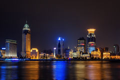 Night view of Bund skyline Waitan from Pudong side, Shanghai Stock Photos