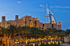 Night view of Burj al Arab hotel Stock Photography