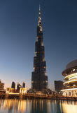 Night view of Burj Khalifa - the world's tallest tower at Downto Royalty Free Stock Image