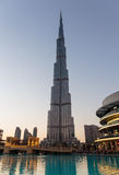 Night view of Burj Khalifa - the world's tallest tower at Downto Royalty Free Stock Photography