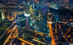 Night view business and financial district of Istanbul, Turkey royalty free stock images