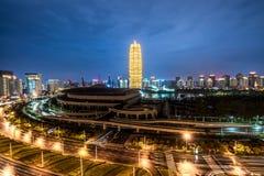 Zhengzhou city night scene. A night view of the bustling city of zhengzhou stock photography