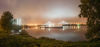 Night view of the cable-stayed bridge in the city Sankt-Petersburg Stock Photo