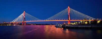 Night view of cable stayed bridge royalty free stock photography
