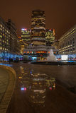 Night view of Cabot Square in Docklands, London, UK Royalty Free Stock Photography