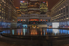 Night view of Cabot Square in Docklands, London, UK Royalty Free Stock Images
