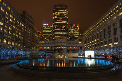 Night view of Cabot Square in Docklands, London, UK Royalty Free Stock Image