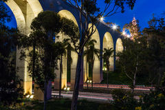 Night View of Cabrillo Bridge in Balboa Park Royalty Free Stock Images