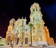 Night view of Cadiz Cathedral - Spain, Andalusia Royalty Free Stock Image