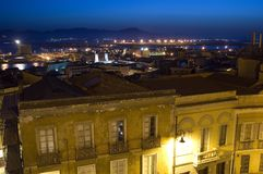 Night view of Cagliari. Near harbour Royalty Free Stock Photos