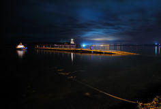Night view of Calen floating dock, Calen, Chiloe, Chile Royalty Free Stock Photos