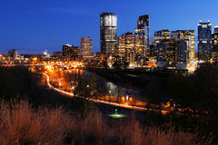 Night View of Calgary Stock Photos