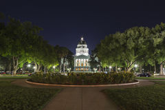 Night View of the California State Capitol Building Royalty Free Stock Photos