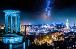 Night view from Calton Hill to Edinburgh with stars royalty free stock photo