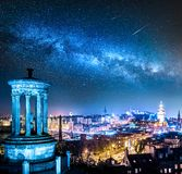 Night view from Calton Hill to Edinburgh with stars, Scotland stock photo