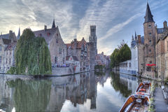 Night view of canal in Bruges. World Heritage Site of UNESCO Royalty Free Stock Photo