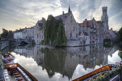 Night view of canal in Bruges. World Heritage Site of UNESCO Royalty Free Stock Photography