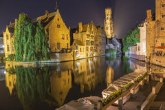 Night view of canal in Bruges. World Heritage Site of UNESCO Royalty Free Stock Photos