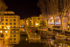 Night view of Canal de la Robine in Narbonne Stock Photo