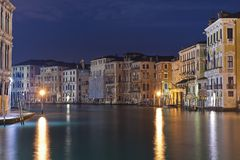 Night view of canal grande Royalty Free Stock Image