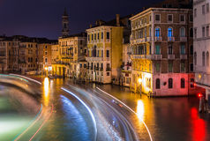 Night view of Canal Grande in Venice Stock Image