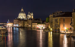 Night view of Canal Grande in Venice Royalty Free Stock Image