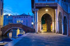 Night view of canal in Venice Stock Images