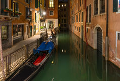 Night view of canal in Venice Stock Photos
