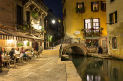 Night view of canal in Venice Royalty Free Stock Photos